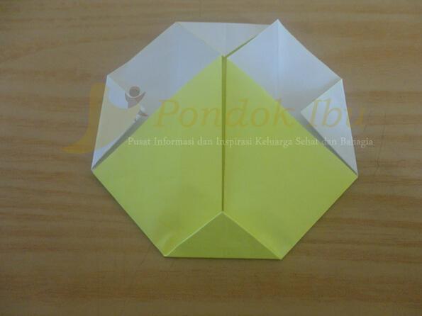 cara membuat origami wajah bebek tahap 6