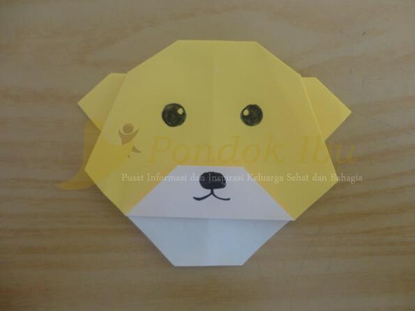 membuat origami wajah anjing