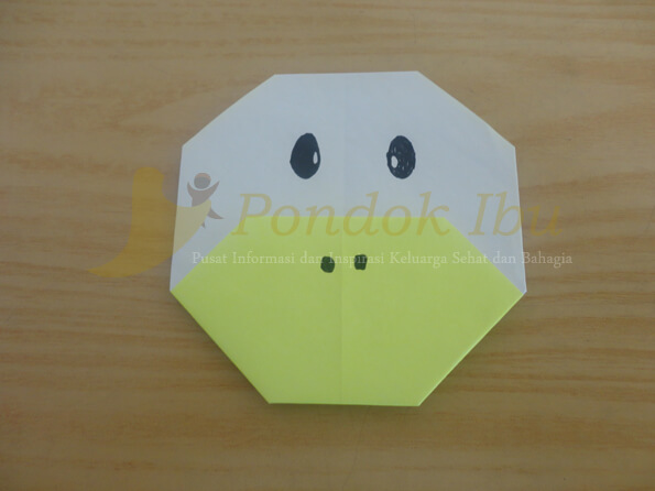 cara membuat origami wajah bebek