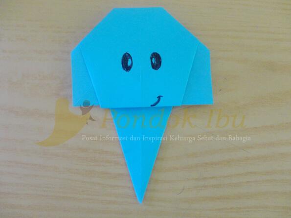 membuat origami wajah gajah