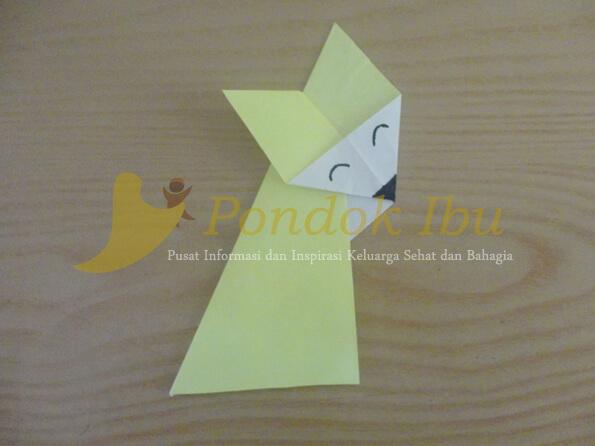 cara membuat origami serigala tahap 7