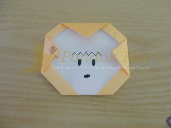 membuat origami wajah monyet