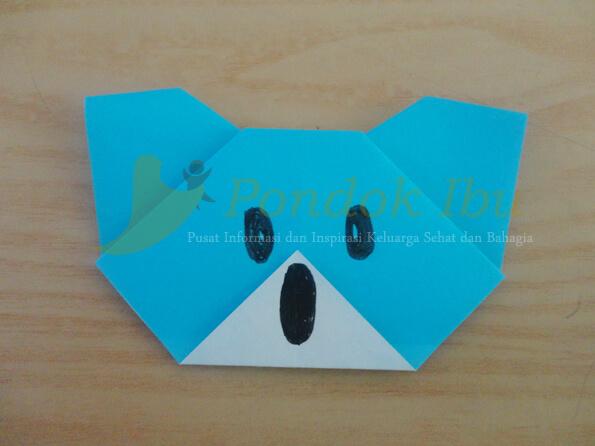 membuat origami wajah koala