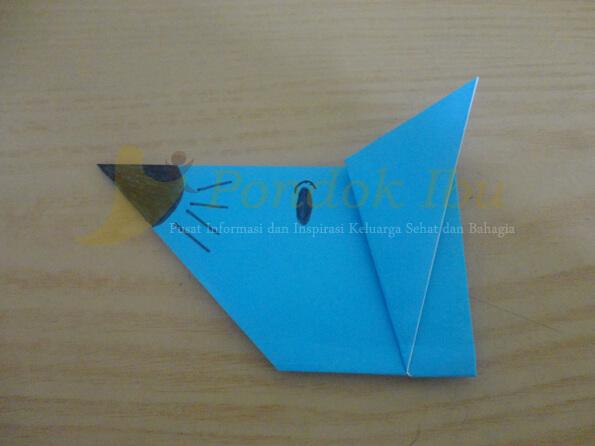 membuat origami wajah tikus
