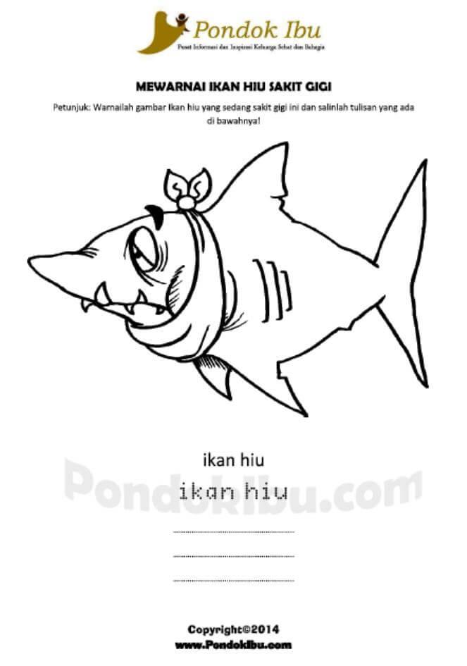 Mewarnai Gambar Ikan Hiu Sakit Gigi